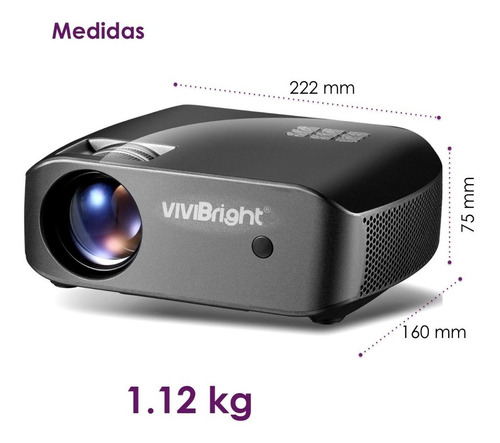 proyector vivibright led full hd 720p reales 2200 lumens f10