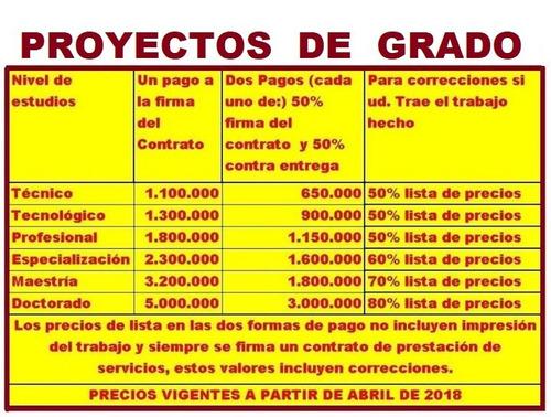 proyectos de grado, tesis, monografias, postgrado correccion