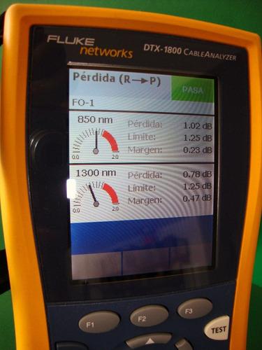 prueba de desempeño fibra óptica mm fluke networks dtx1800