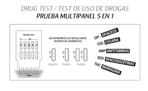 prueba test droga orina panel 5 drogas 5minutos instantaneas