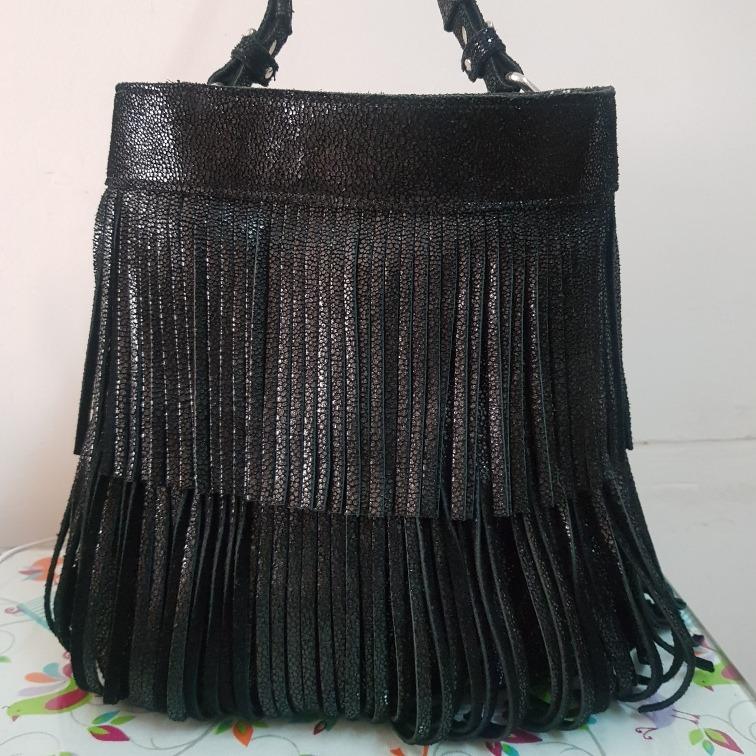 5d3ad68d48dac prune cartera bolso hombro cuero negro brillo flecos navidad. Cargando zoom...  prune cartera bolso cuero