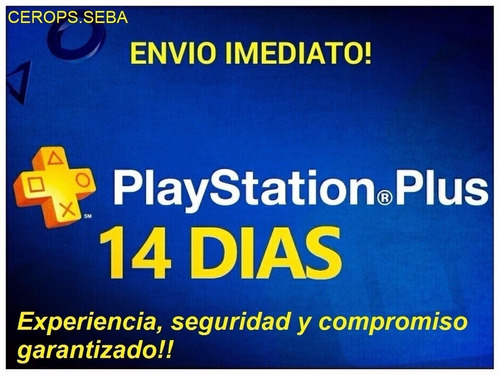 ps plus 14 días, envio inmediato! ps4, ps4 pro, ps4 slim