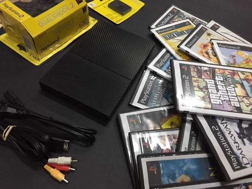 ps2 seminuevo  1 control + memory card  + 15 juegos fisicos