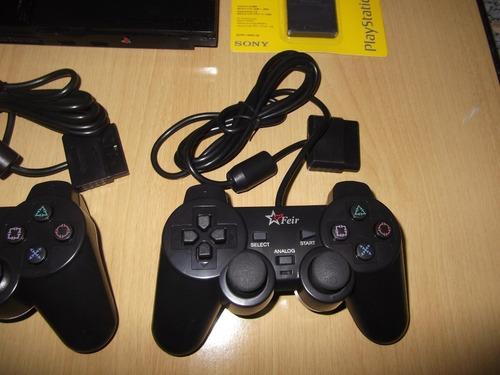 ps2 slim usado + 2 controles+memory card 8mb+jogosdebrinde