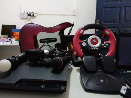 ps3 completo com controle de carro, bateria, guitarra