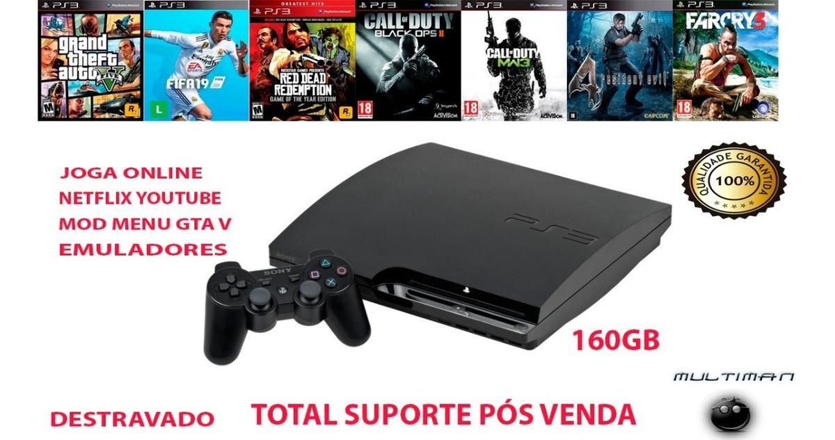 Ps3 Destravado Playstation 3 Slim + Jogos Mod Menu Gta 5