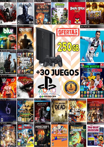 ps3 play station 3 250 gb + 30 juegos digitales: super slim
