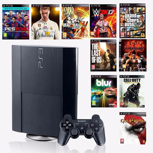 ps3 playstation 3 super slim 250 gb + 15 juegos gratis