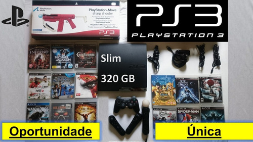 ps3 slim 320gb completo (move & s.shooter )+15 jogos oferta
