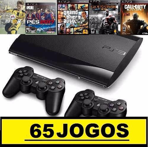 ps3 super slim 320 gb c/ fifa17+85 jogos+2 controles + gta5