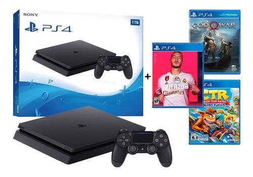 ps4 consola 1 tb playstation 4 + 3 juegos fifa 20 crash car