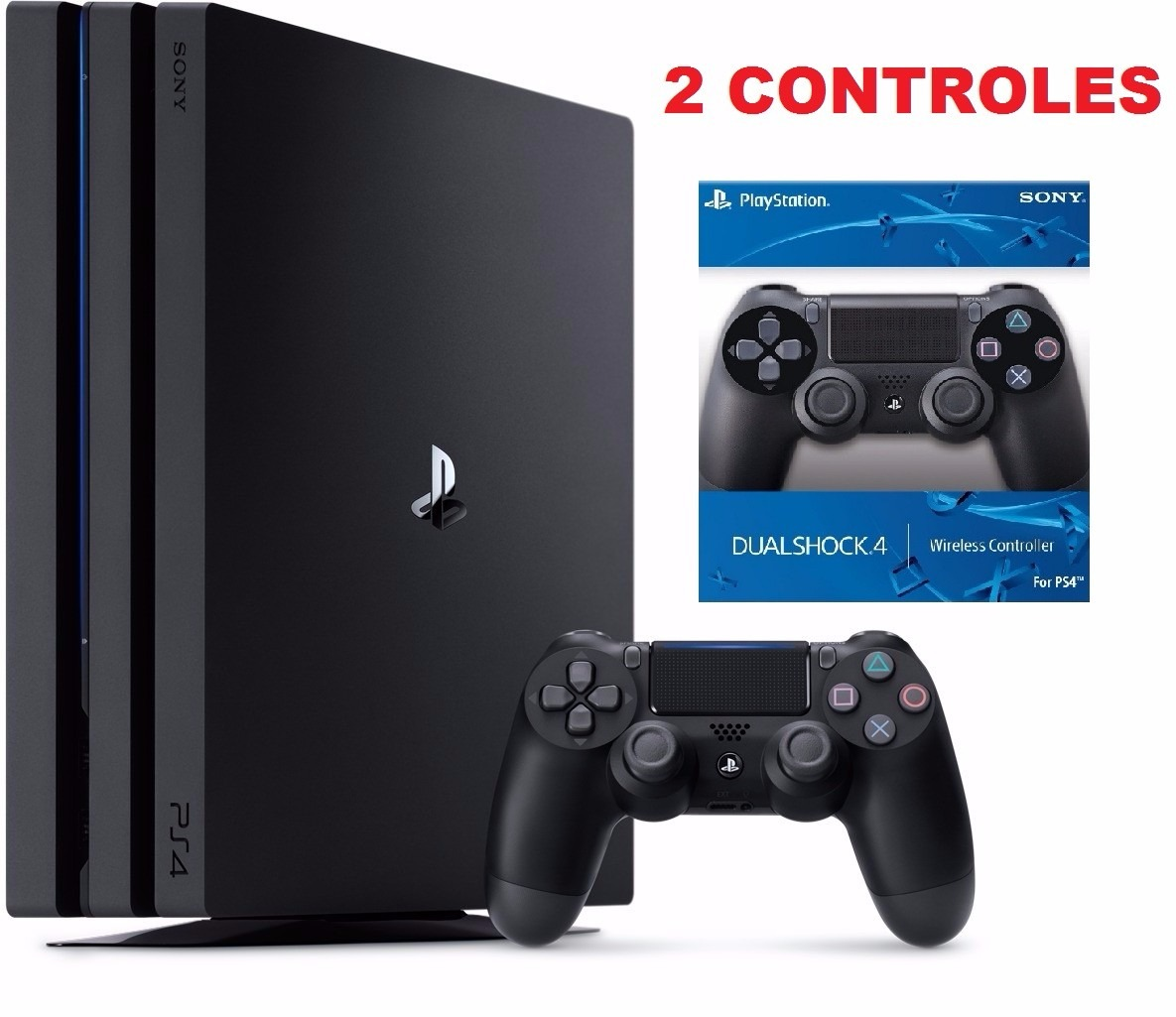 ps4 console playstation 4 pro 1tb new ps4 4k 2 controles. Black Bedroom Furniture Sets. Home Design Ideas