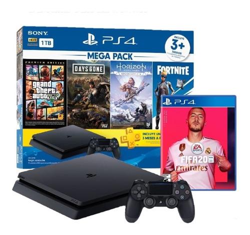 ps4 play station 4 slim 1 tb mega pack + pes 2021 !!