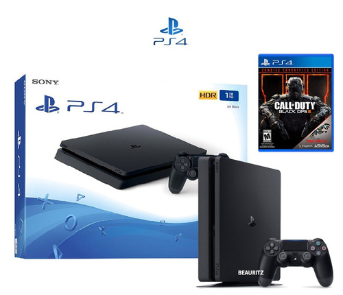 ps4 play station 4 slim 1tb + call of duty black ops 3 + dlc
