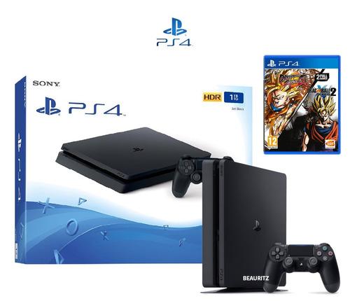 ps4 play station 4 slim 1tb + pack: fighter z + xenoverse 2
