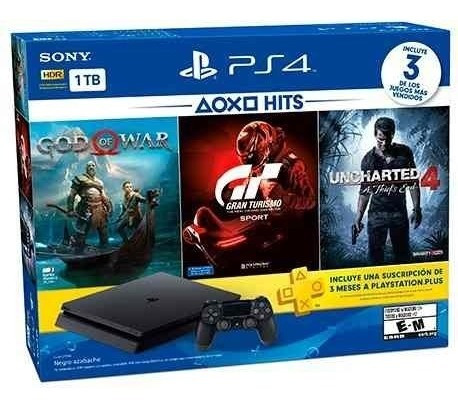 ps4 slim 1 tb hits 3 juegos + 3 meses plus - prophone