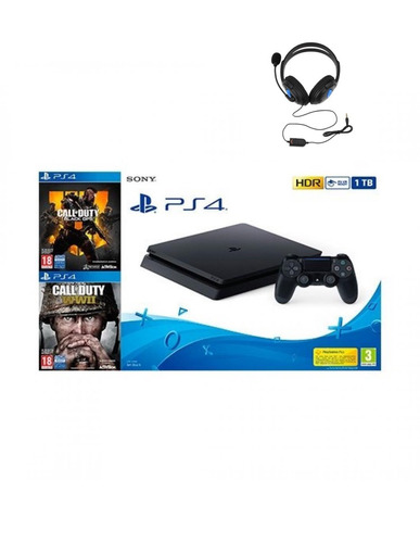 ps4 slim 1tb + call of duty b ops 4 + cod wwii + audifonos