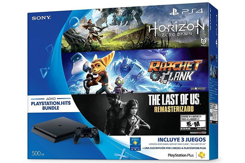 ps4 slim 500gb horizon, ratchet, last of us, ps plus