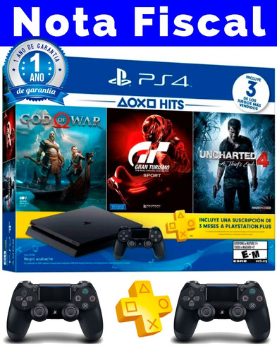 ps4 slim sony 1tb 3 jogos bundle + nota fiscal + 2 controles