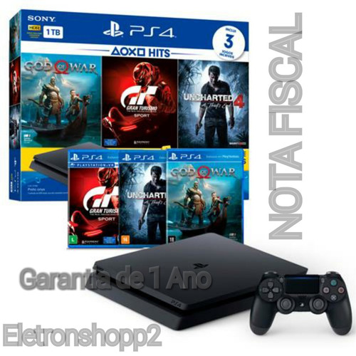 ps4 slim sony 1tb 3 jogos bundle + nota fiscal