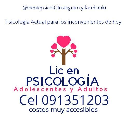 psicóloga.  lic en psicología. opción presencial u online