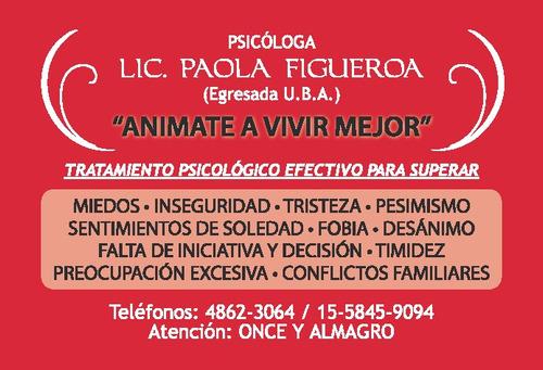 psicologa paola figueroa.terapia breve.almagro,villa crespo