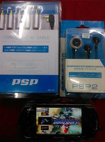 psp 3000  con 20 juegos en memory, cargador, cable tv, audíf