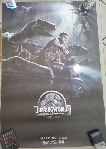 pôster cartaz jurassic world - o mundo dos dinossauros 93x63