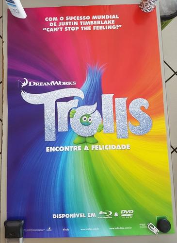 pôster cartaz trolls 93x63 cm