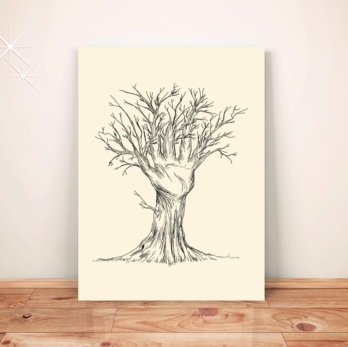 Poster Desenho Arvore Mao Placa Rigida A3 Pdv024a0 R 39 00