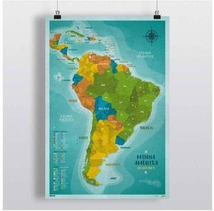 86af736117e Pôster Mapa América Do Sul E Central (mapa Do Brasil) - R  70