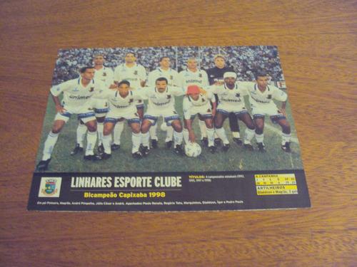 pôster placar do linhares bicampeão capixaba de 1998