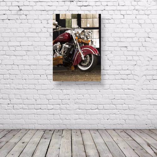 pôster retrô moto custom indian - placa rígida a3 #pvt149a0