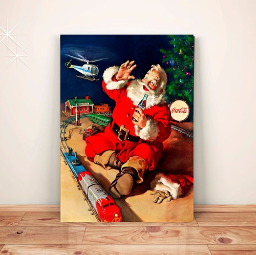 pôster retrô papai noel natal - placa rígida a3 #pvt031a0