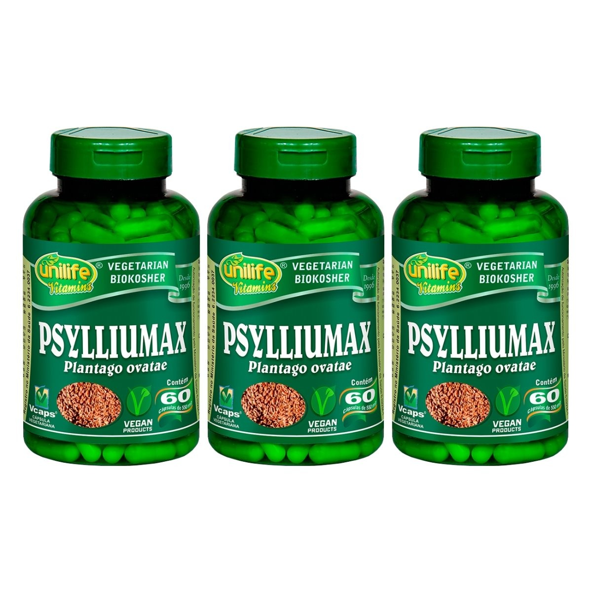 Psylliumax Psyllium 60 Cápsulas 550mg Unilife Kit 3 Unidades