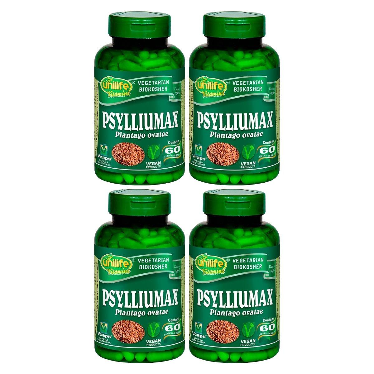 Psylliumax Psyllium 60 Cápsulas 550mg Unilife Kit 4 Unidades