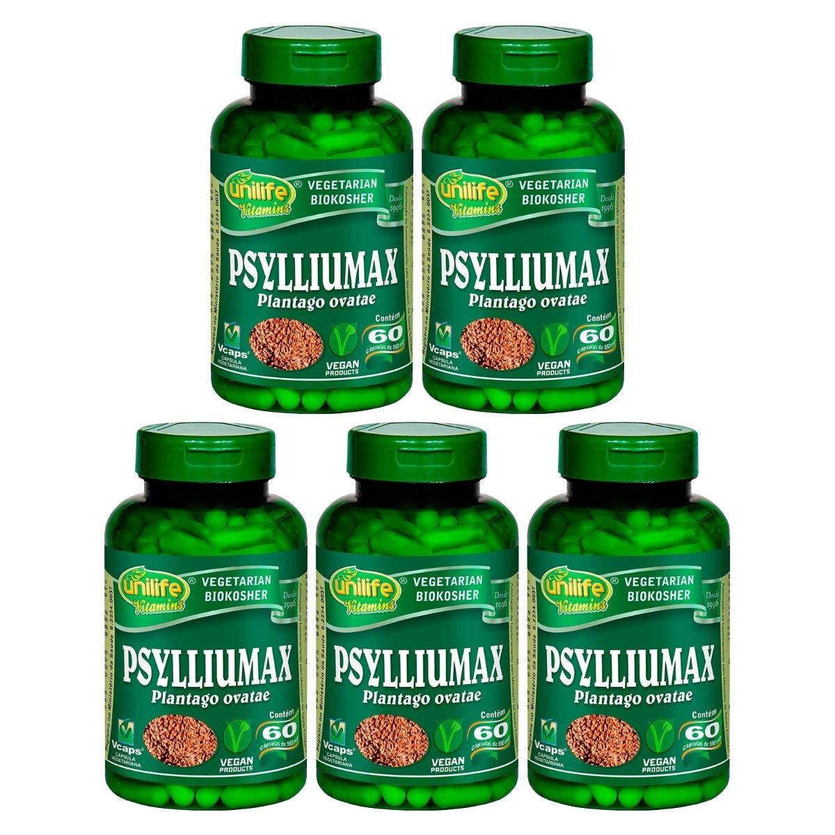 Psylliumax Psyllium 60 Cápsulas 550mg Unilife Kit 5 Unidades