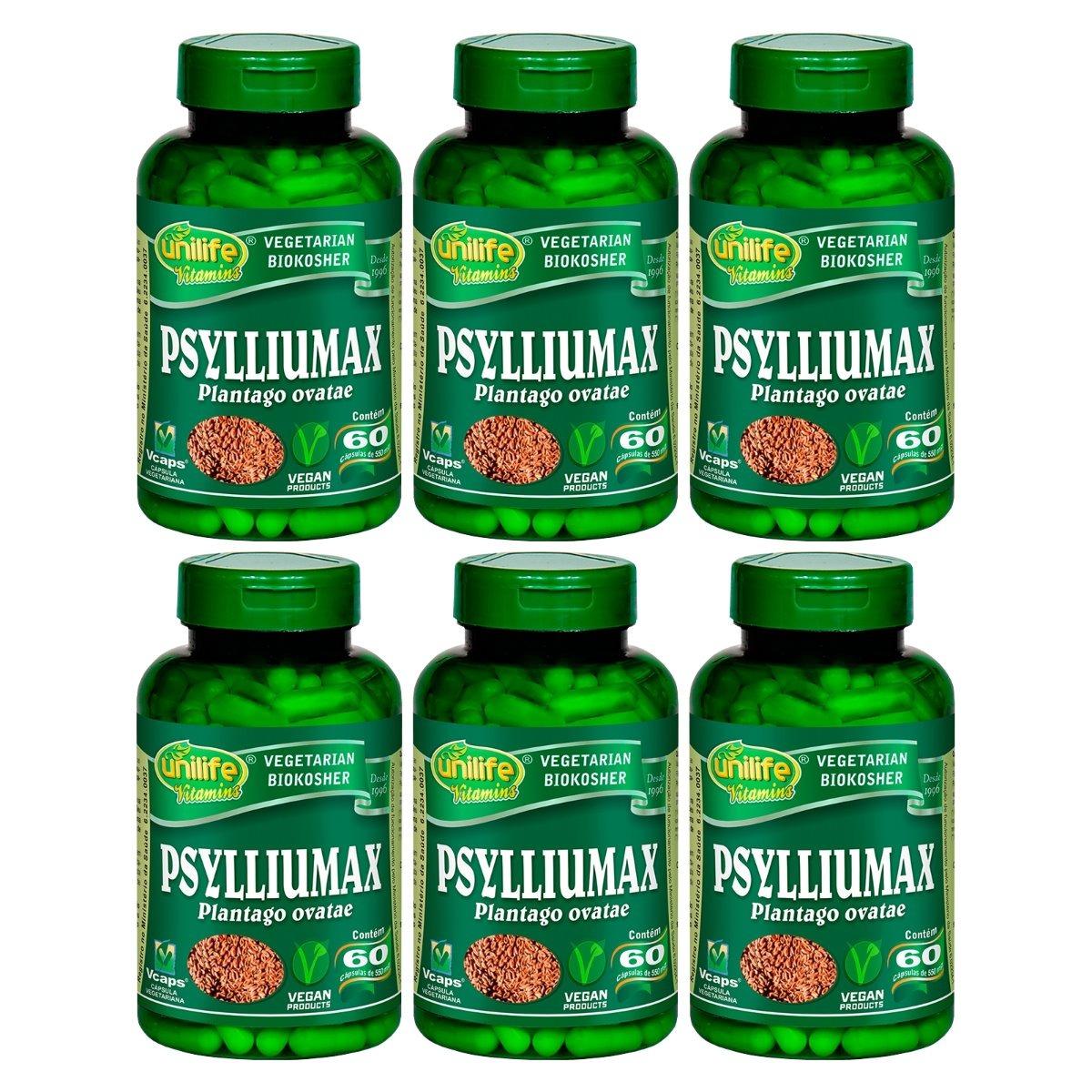 Psylliumax Psyllium 60 Cápsulas 550mg Unilife Kit 6 Unidades
