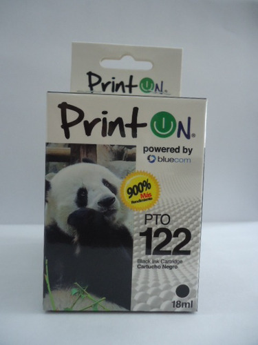 pto122an, printon cartucho compatible con hp #122xl negro