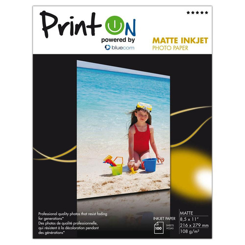 ptopm108l printon photo paper matte  ( 8.5  x  11 ), 100 hoj