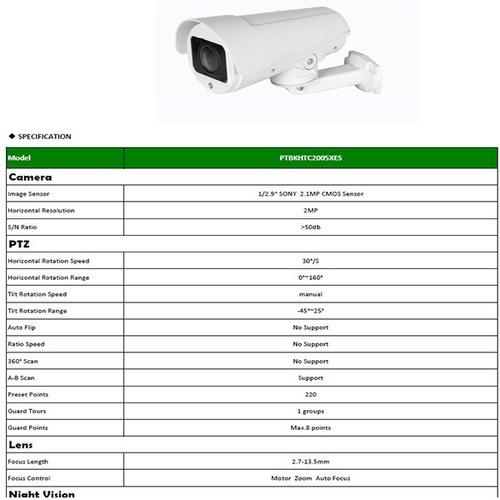 ptz camara bullet metalica ip lente varifocal motorizado 2mp