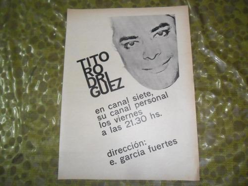 publicidad 1965 canal 7 tv tito rodriguez e garcia fuertes