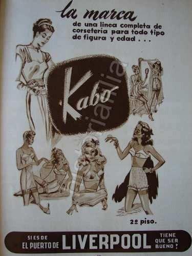 publicidad antigua 1948 tiendas liverpool corseteria kabo