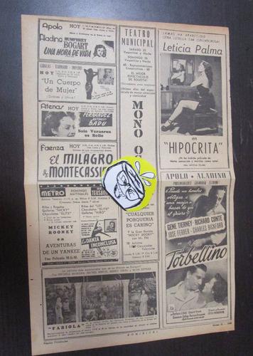 publicidad antigua 1950 cine teatro colombia bogota l1 *