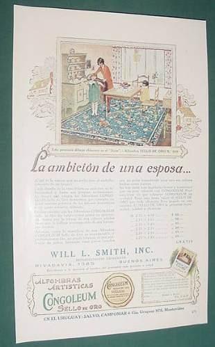 publicidad antigua alfombras artisticas congoleum sello oro