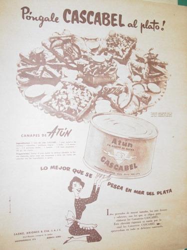 publicidad antigua atun cascabel lata pongale cascabel plato