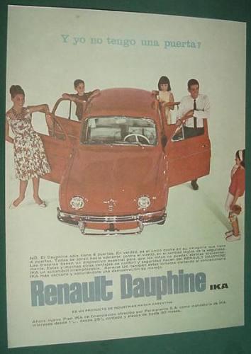 publicidad antigua automoviles renault dauphine ika autos