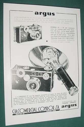 publicidad antigua camaras fotograficas argus condor sa - 1
