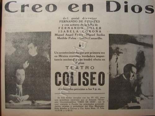 publicidad antigua creo en dios cine coliseo de puebla 1941