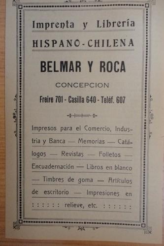 publicidad antigua imprenta hispano-chilena   concepción
